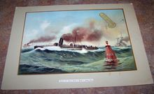 Vintage Print Werner Co. Practice With Captive Balloon on Board of Torpedo Boats