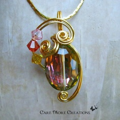 Rainbow Quartz Wire Wrapped Pendant Necklace by CareMoreCreations.com on Etsy, $29.00