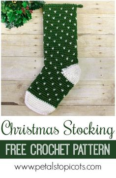 Crochet Stitches Design Crochet up this Evergreen Christmas Stocking crochet pattern to adorn your mantel! All you need is two balls of yarn and a weekend and you will have a holiday keepsake that is sure to be enjoyed for years to come! Crochet Christmas Stocking Pattern, Crochet Stocking, Knitted Christmas Stockings, Xmas Stockings, Holiday Crochet, Christmas Knitting, Crochet Gratis, Free Crochet, Learn Crochet