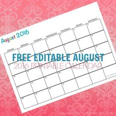 Use this free printable calendar August 2016 to plan your meals, kids activities, cleaning schedule, etc.