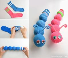 These no-sew sock worms are SO EASY to make and the kids love them! Or maybe they're sock caterpillars? Either way, this is such a fun kids craft and . How to Make No-Sew Sock Worms Fun Crafts For Kids, Easy Diy Crafts, Crafts To Sell, Diy For Kids, Activities For Kids, Sell Diy, Christmas Activities, Kid Crafts, Paper Crafts