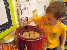 make applesauce in your crockpot to go along with your apple theme. it tastes SO good and your classroom smells GREAT!