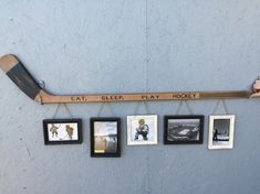Retro Hockey Stick with 5 Hanging Frames.They had this for sale in Kenora when … Retro Hockey Stick with 5 Diy Projects For Bedroom, Diy Projects For Men, Diy For Men, Project Projects, Hockey Crafts, Hockey Decor, Hockey Birthday Parties, Hockey Party, Hockey Wedding