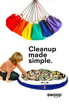 Swoop Bags are durable toy storage that make cleaning up all those little pieces like LEGO simple, fast and fun. Available in a RAINBOW of colors. Made in USA - Seattle. | lego storage ideas | toy storage bags | playroom storage | toy storage | toy basket | toy bin Large Toy Storage, Toy Storage Bags, Toy Bins, Lego Storage, Playroom Storage, Playroom Design, Toy Storage Solutions, Storage Ideas, Modern Toys