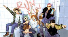 BTS Run Fanart | cr to makkunsta via Tumblr