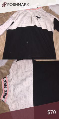 Pink half zip Pink half zip with a collar PINK Victoria's Secret Tops Sweatshirts & Hoodies