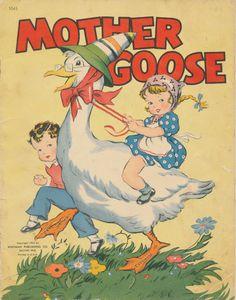 Vintage 1941 Mother Goose 1045 Whitman Publishing Co Linen Nursery Retro Kids, Mother Images, Kids Story Books, Story Maps, Vintage Nursery, Bedroom Vintage, Mother Goose, Vintage Children's Books, Children's Book Illustration