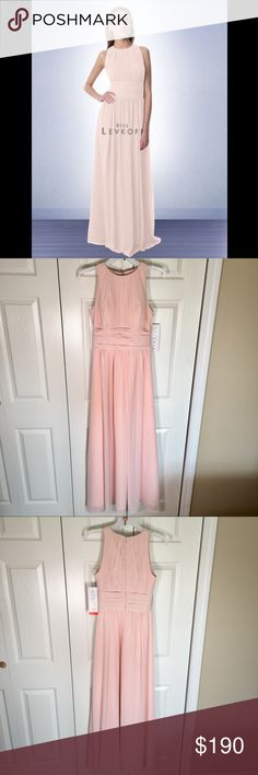 NWT Bill Levkoff Long Formal Dress 974 Petal Pink New With Tags! Never worn! BILL LEVKOFF 974 BRIDESMAID DRESS. My sister got this to be in a wedding that was cancelled. Sleeveless Chiffon floor length gown with vertical pleats that adorn the front and back of the high neck bodice with a wide ruched cummerbund. Gathers surround the skirt giving it extra fullness.  Size: 4 Color: Petal Pink Fabric: 100% Polyester Chiffon Bill Levkoff Dresses