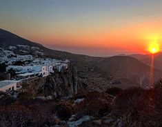 Amazing Sunset time in Folegandros island (Φολέγανδρος) .