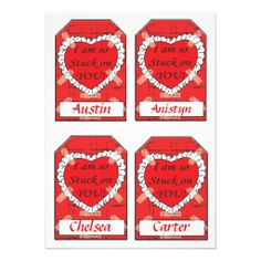 Four Small I am So Stuck On You Gift Tags  Also look for matching wrapping paper designs in my store. www.zazzle.com/designsbydonnasiggy* DesignsbyDonnaSiggy - Please share this web address with your family and friends. Thank you for shopping at my store. #zazzle #gifttags #valentine
