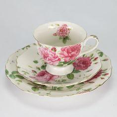 NEW Vintage Tea set cup saucer Trio Rose high tea porcelain shabby chic pink