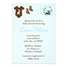 Blue Baby Clothes Shower invitation