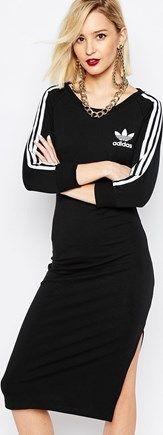Adidas Adidas Originals Adicolour Midi Bodycon Dress With 3 Stripe