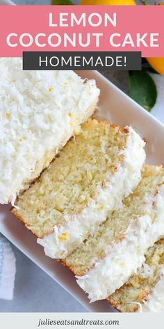 Craving an easy cake recipe loaded with flavor? This Lemon Coconut Loaf cake is homemade, so tender and moist. It's topped with a delicious homemade lemon coconut cream cheese frosting. It's perfect for spring and summer entertaining! #cake #recipe Coconut Cake Easy, Coconut Pound Cakes, Lemon And Coconut Cake, Pound Cake Recipes, Coconut Recipes, Lemon Recipes, Easy Cake Recipes, Easy Desserts, Sweet Recipes