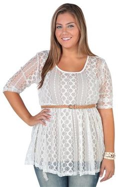 Deb Shops plus size lace babydoll tunic with belt and three quarter sleeves $20.17