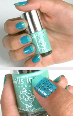 French manicure in blue, I like the tips, I don't like the main nail color...