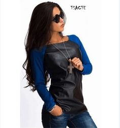 2016 New Spring Women Shirts Long Sleeve PU Leather Patchwork Blouses Fashion Autumn Casual Loose Tops Blusas Plus Size S-XL - http://fashionfromchina.net/?product=2016-new-spring-women-shirts-long-sleeve-pu-leather-patchwork-blouses-fashion-autumn-casual-loose-tops-blusas-plus-size-s-xl