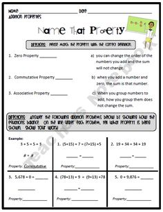 Printables Math Properties Worksheet properties of addition on pinterest this worksheet can be used as homework or a formal assessment students are asked to identify the three zero property com
