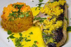 Psi in der Küche: Tigerwels mit Karottenrisotto und Ingwersauce | Rezept | Rezepte mit Bildern für die anspruchsvolle Hobbyküche