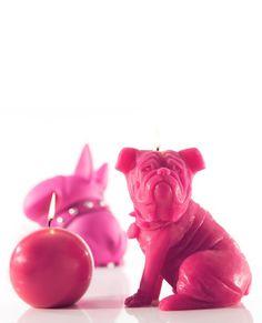 Bougies la Française - Bougie décorative chien rose Sam.
