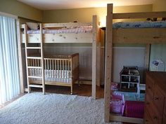 Loft bunk bed over crib. Small space solution to lots of kids... We did this 10 years ago and it worked well
