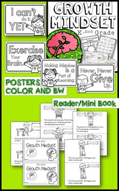 Growth Mindset activities unit for first grade! The best printables, growth mindset question cards, growth mindset flip book, posters for encouragement, reading comprehension, and so much more fore growth mindset resources and activities