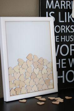 Originelles Gästebuch mit Herzen aus Holz, Hochzeitsbuch / wedding guest book, wooden hearts, reception made by Coccinelle via DaWanda.com