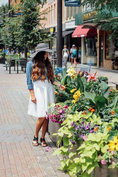 Fair Trade Friday – 🌴 Pursuit of Palms 🌴Trades of Hope Selah Bracelet, Halo Necklace, White Skirt, Denim Shirt, Big Floppy Hat Style #tohstyle