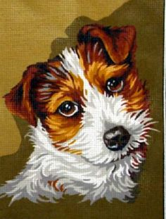 FOX TERRIER D'APRES TADENA NEEDLEPOINT CANVAS DESIGN::CATS & DOGS::Needlepoint Canvases-Printed::Jackie's NeedleArt Mania - Discount Needlepoint Products and More: Crewel Embroidery, Counted Cross Stitch, Stamped Embroidery