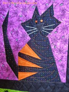 close up, Crazy Cats block in Halloween colors, pattern by The Buggy Barn, quilted by Dar at Dar's Patchwork Garden