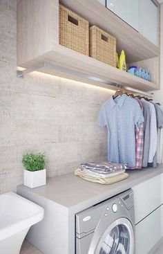50 Small Laundry Room Design Ideas to Try Who says that having a small laundry room is a bad thing? These smart small laundry room design ideas will prove them wrong. Laundry Room Cabinets, Laundry Room Remodel, Laundry Closet, Laundry Room Organization, Laundry In Bathroom, Bathroom Storage, Laundry Room Drying Rack, Drying Room, Laundry Nook