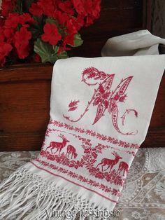 "Exquisite Antique DEER & Monogram ""M"" Turkey Red French SHOW TOWEL c1890 www.Vintageblessings.com"