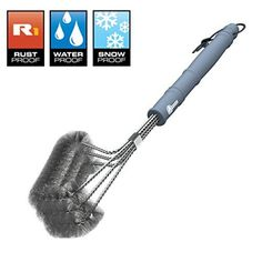 """BBQ Grill Brush - ONLY 100% RUST PROOF DESIGN - Stainless Steel Wire Bristles with Strength Clip for Cleaning Char Broil Weber Porcelain and Infrared Barbecue Grates - 18"""" Long Handle by Cave Tools >>> Discover this special product, click the image : Gardening Tools"""