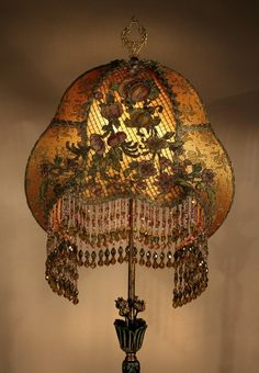 $2800 Antique Floor Lamp Hand Made Hand Beaded Shade