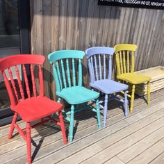 Chairs painted in bright colours from the Frenchic Chalk and Mineral Paint range. Colours left to right: Flamenco, Anguilla, Moody Blue and Pea Soup. Challenge Ideas, Style Challenge, Paint Stain, Chalk Paint, Painting Furniture, Diy Furniture, Chalk It Up, Dinning Chairs, Pea Soup