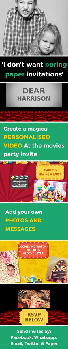 Create a magical VIDEO party invitation - www.poshtiger.co Online Birthday Invitations, Party Invitations Kids, Invitation Paper, Invites, Movie Party, Babyshower, Rsvp, Messages, Create