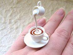 Fancy - Kawaii Cute Japanese Ring Tea With Cream by SouZouCreations Weird Jewelry, Cute Jewelry, Unique Jewelry, Jewelry Model, Cute Japanese, Cute Rings, Kawaii Cute, Kawaii Stuff, Miniature Food