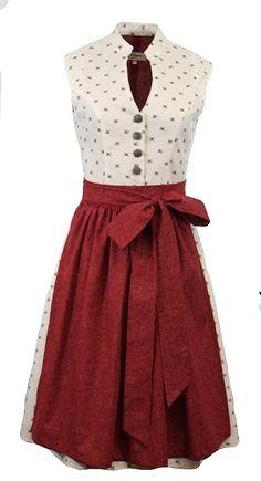 Vintage Baumwolldirndl Goldstich weiß rot