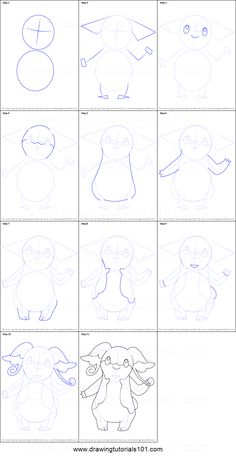 How to Draw Audino from Pokemon printable step by step drawing sheet : DrawingTutorials101.com