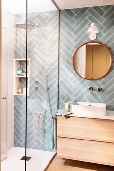 Bathroom Design Small, Bathroom Interior Design, Modern Bathroom Tile, Bathroom Tile Colors, Bathroom With Tile Walls, Teal Bathrooms, Wood Bathroom, Kitchen Interior, Wall Tiles