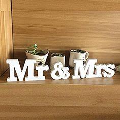 EQLEF® 1 Set Mr & Mrs Holzbuchstaben für Hochzeit Dekoration Sign Top Table Geschenk-Dekor