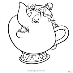 Mrs. Potts Beauty and the Beast color page, disney coloring pages, color plate, coloring sheet,printable coloring picture