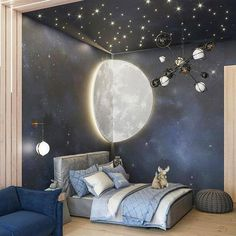 [New] The 10 Best Home Decor (with Pictures) - Check out this awesome space themed room! Love the starry night detailingCredit to Baby Room Decor, Room Decor Bedroom, Space Theme Bedroom, Star Bedroom, Deco Kids, Kids Room Design, Bedroom Themes, Dream Rooms, New Room