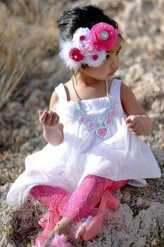 Jayne Fuchsia and White Shabby Flower Headband.