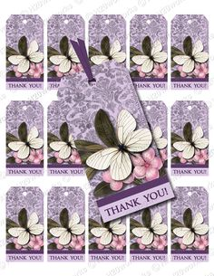 Purple Butterfly, Damask, Gift Tags, PRINTABLE - Digital Collage Sheet by H20worksDesigns