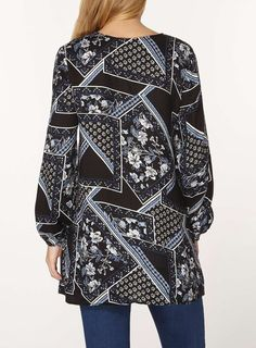 Womens Printed Tie Neck Tunic- Blue