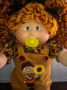VTG CABBAGE PATCH PACI GIRL DOLL CUSTOM POPCORN REROOT SCARECROW CLOTHES SHOES #Dolls