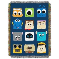 """Featuring characters from your favorite animated movies, the Disney Pixar """"Pixarland"""" Tapestry Throw is perfect for keeping warm. This hand woven tapestry throw features fringe and is great as a room accent, bed covering, throw blanket, or wall hanging. Pixar Nursery, Disney Nursery, Disney Bedding, Winter Bedding, Pixar Characters, Pinturas Disney, Small Canvas Art, Disney Home, Disney Disney"""