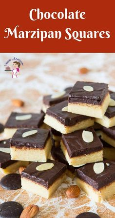 Chocolate Marzipan Squares - Christmas Treats These chocolate marzipan squares are a real treat especially during the holiday season. They are little bites of heaven . Köstliche Desserts, Best Dessert Recipes, Chocolate Desserts, Delicious Desserts, German Desserts, Cheesecake Recipes, Mini Tortillas, Marzipan Recipe, Sicilian Recipes