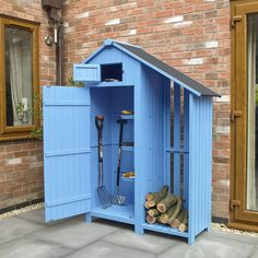 Wido New Wooden Garden Shed Sheds Tool Storage Cabinet Log Store With Shelves Small Garden Tool Shed, Garden Storage Shed, Outdoor Storage Sheds, Small Garden Storage Ideas, Shed Building Plans, Shed Plans, Barn Plans, Shed With Log Store, Log Shed